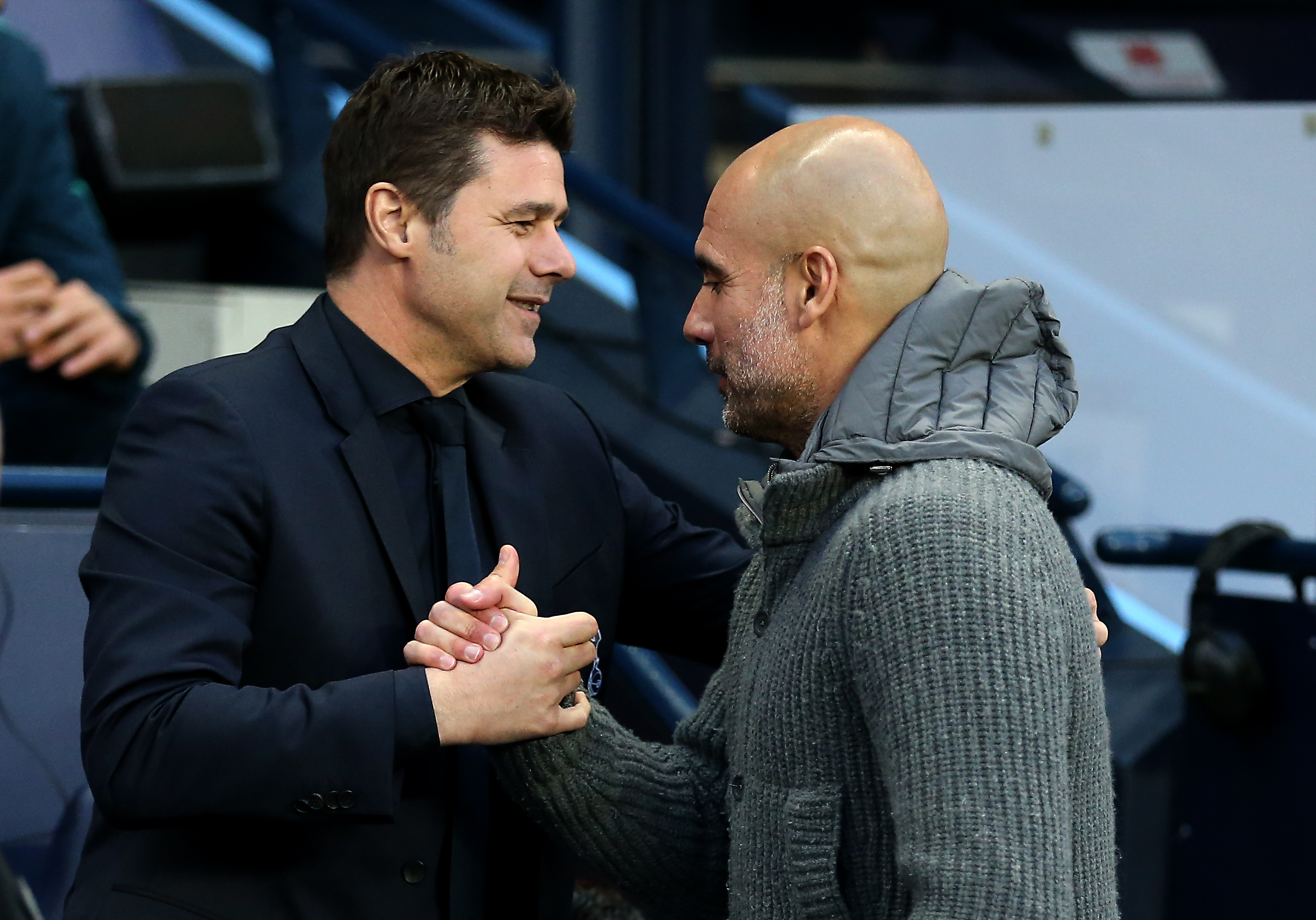 Mauricio Pochettino (left) and Pep Guardiola (right) are the two highest-paid managers in the Premier League