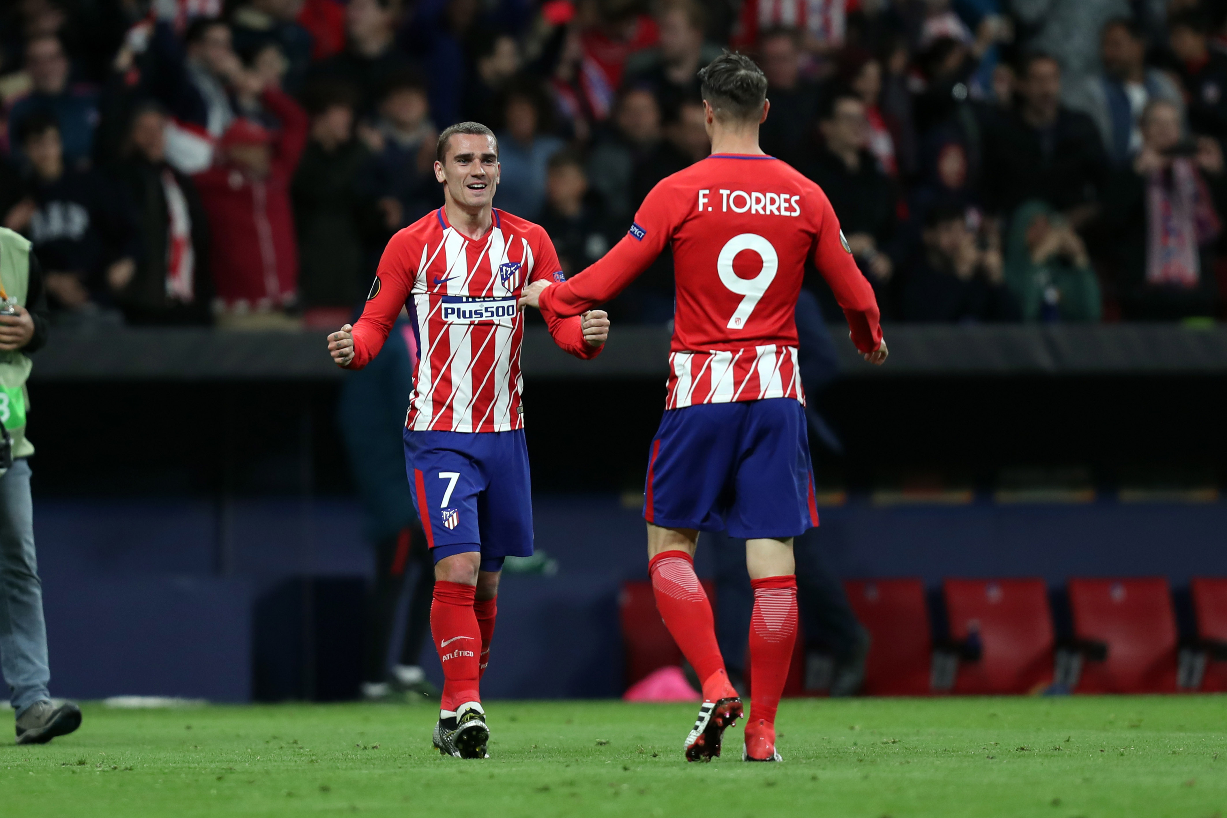 Griezmann and Torres celebrate. Image: PA