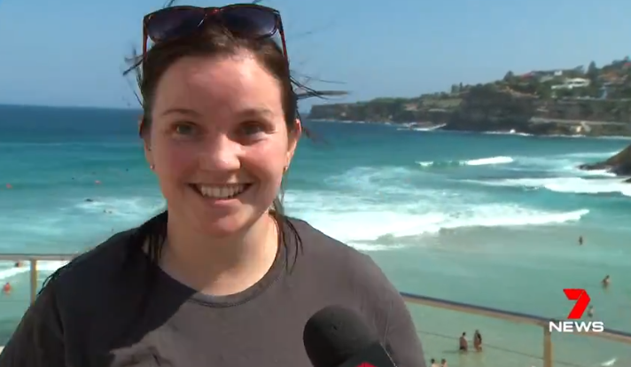 The Irish beach-goer wasn't phased by the presence of a Great White. Credit: 7 News Sydney