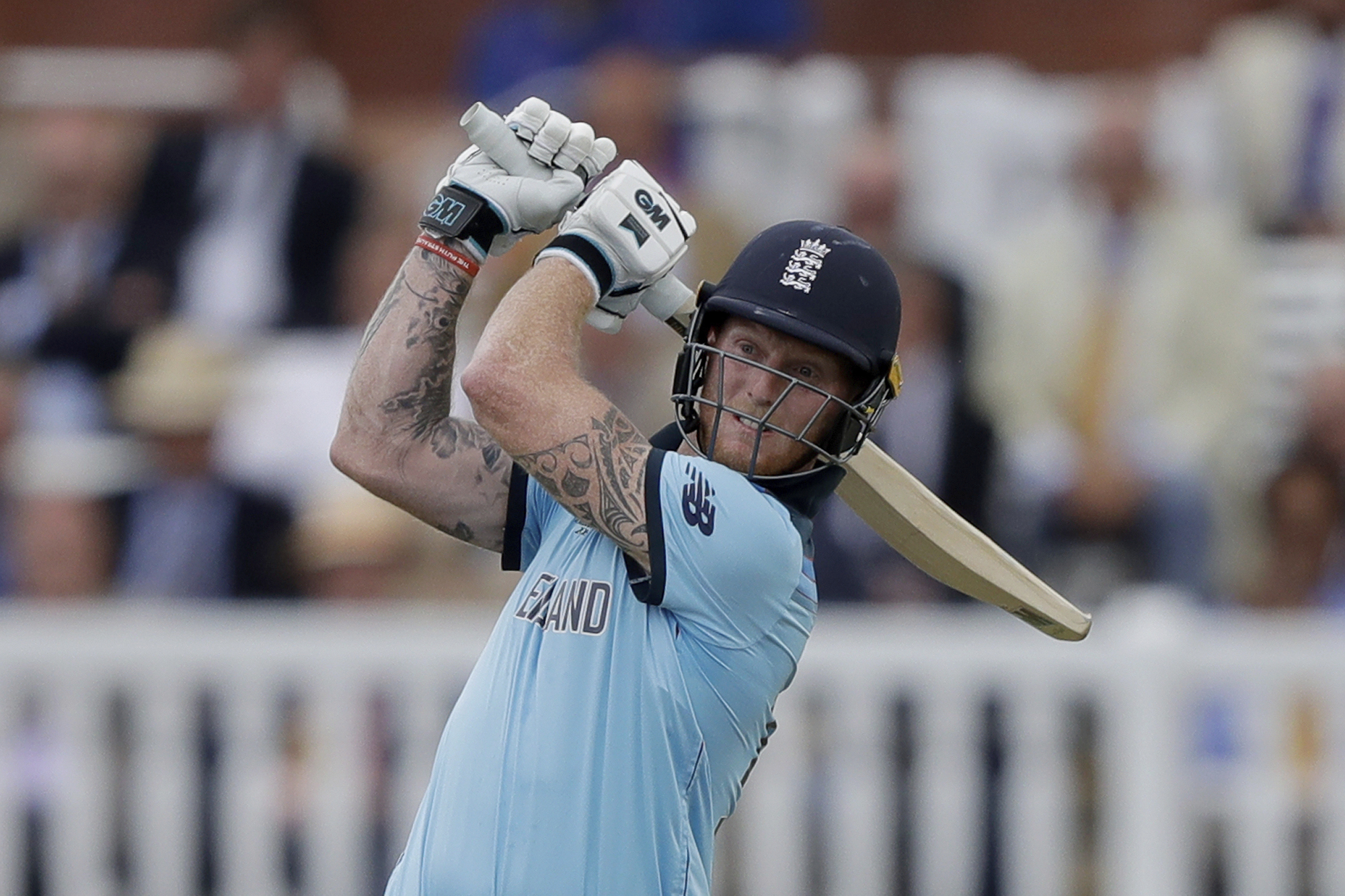 Stokes plays one of his many attacking shots during his innings. Image: PA Images