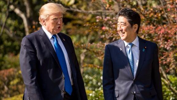 US President Donald Trump Attacked For 'Overfeeding' Koi Carp Of Japanese Prime Minister Shinzo Abe