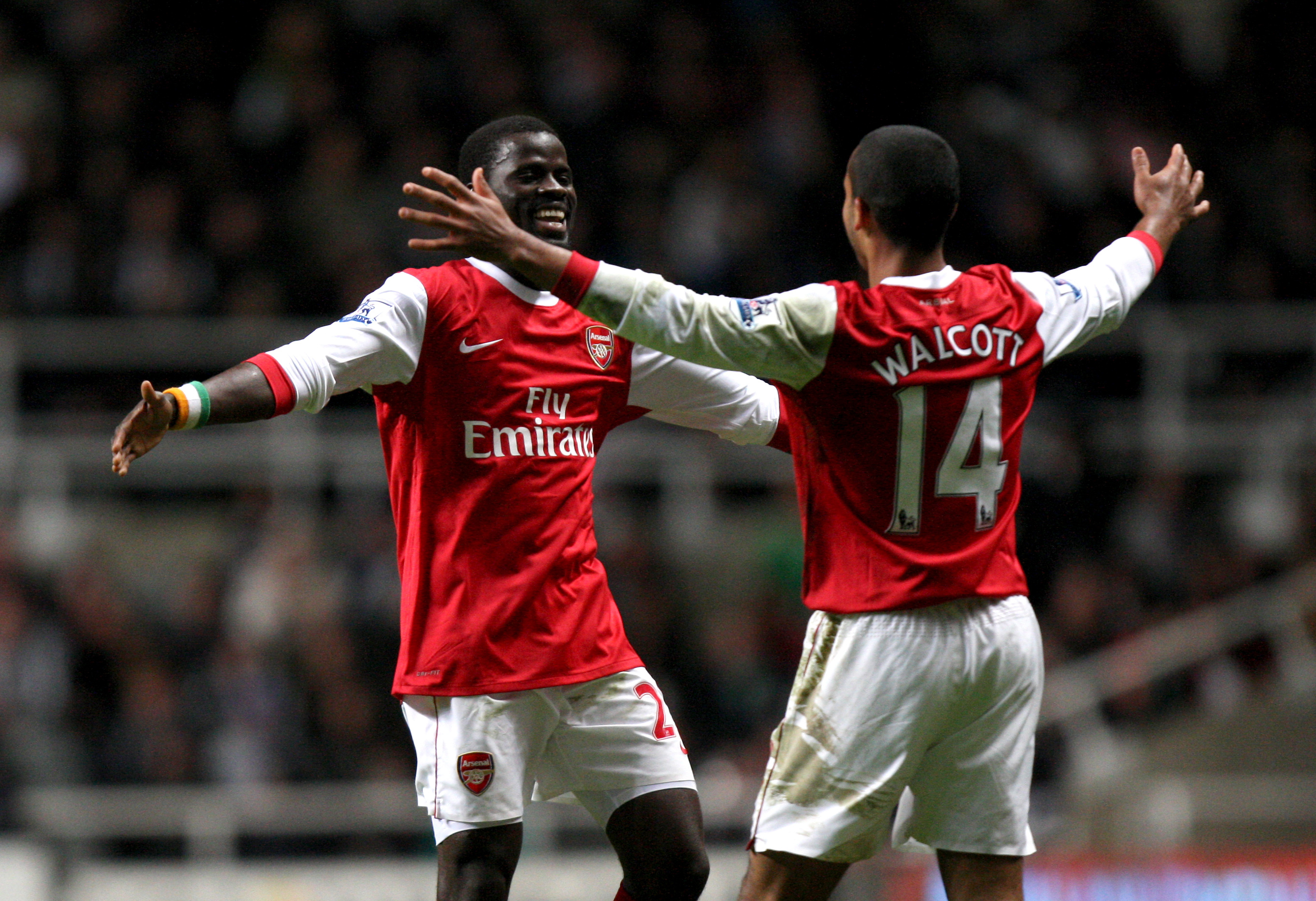 Eboue in happier times at Arsenal. Image: PA Images.