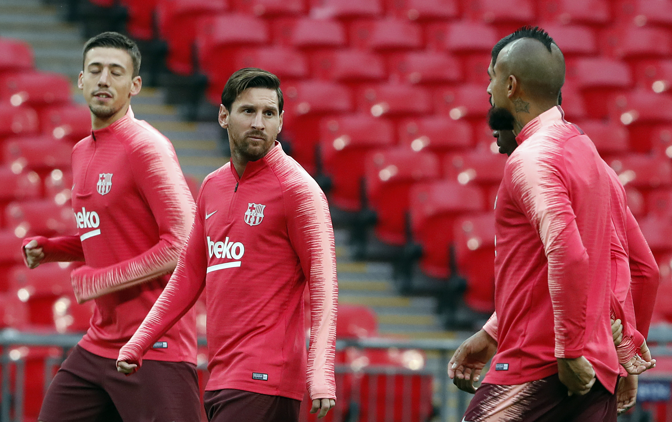 Messi gets ready to make his teammates look stupid again. Image: PA Images