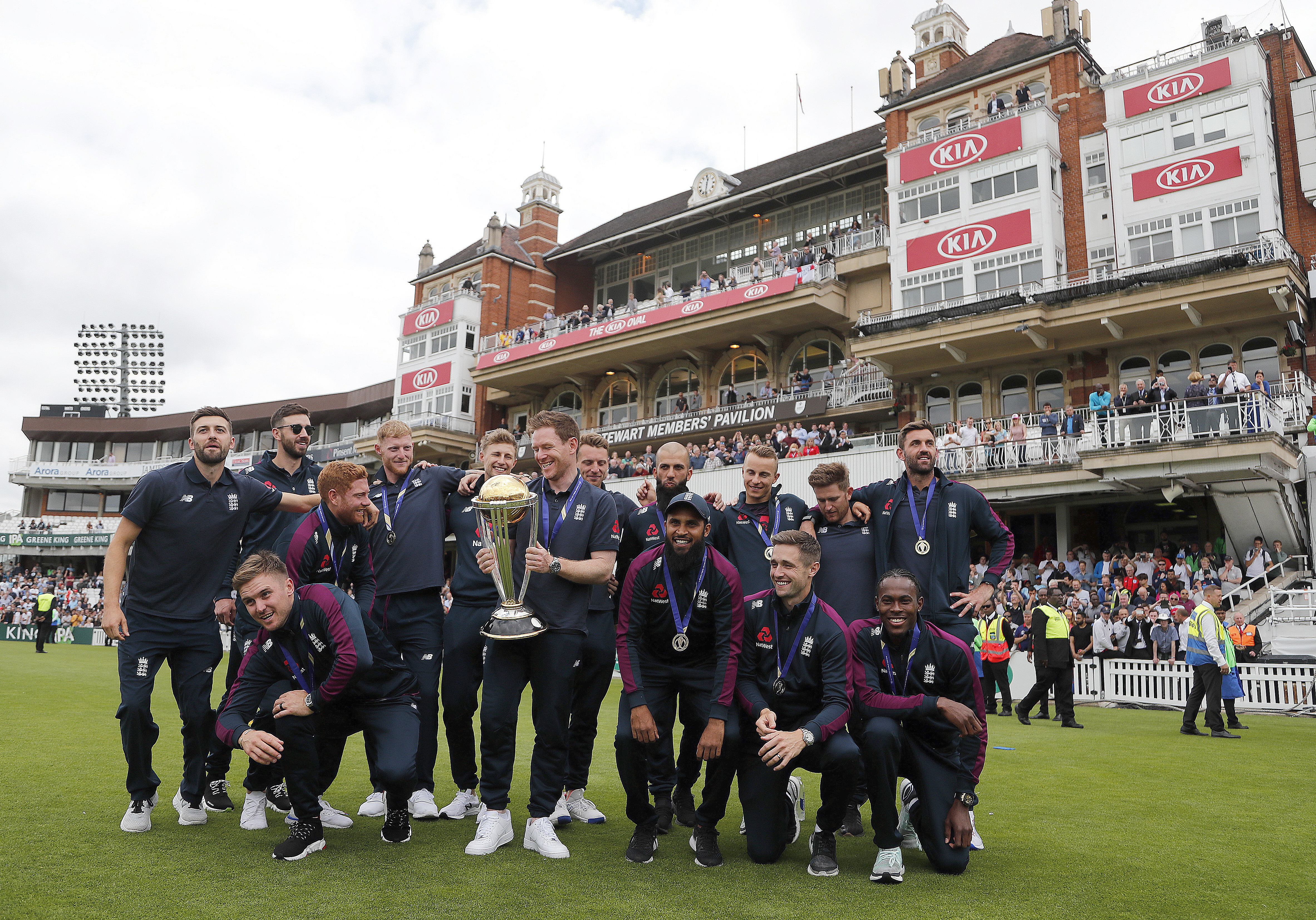 Eoin Morgan and his team celebrate at the Oval. Image: PA Images