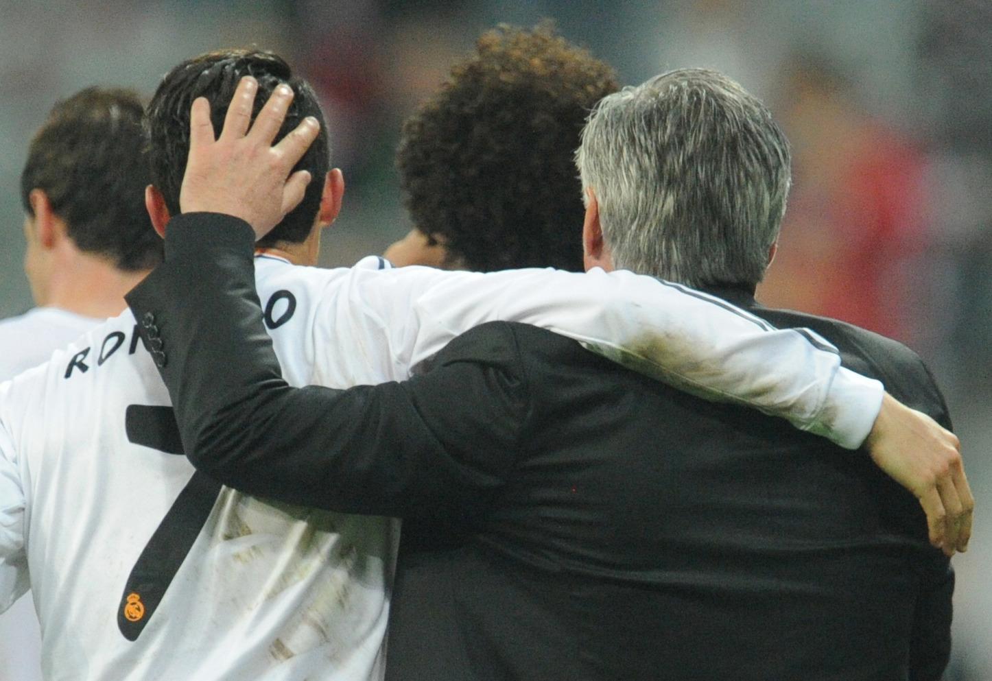 Ronaldo and Ancelotti together. Image: PA Images