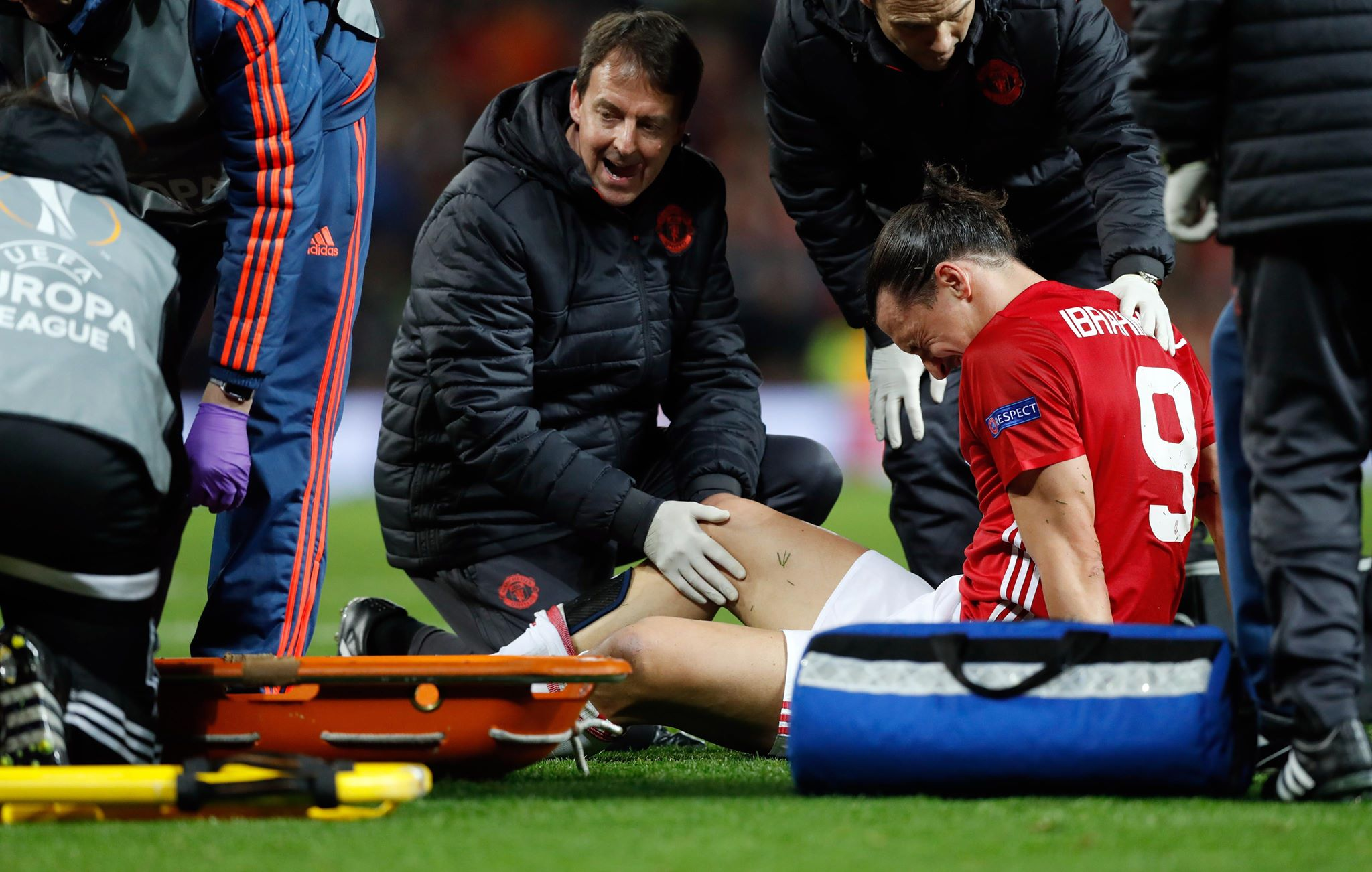 Ibhrahimovic stricken on the floor. Image PA