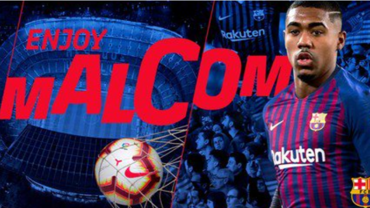 Malcom only joined Barca in the summer. Image: FC Barcelona