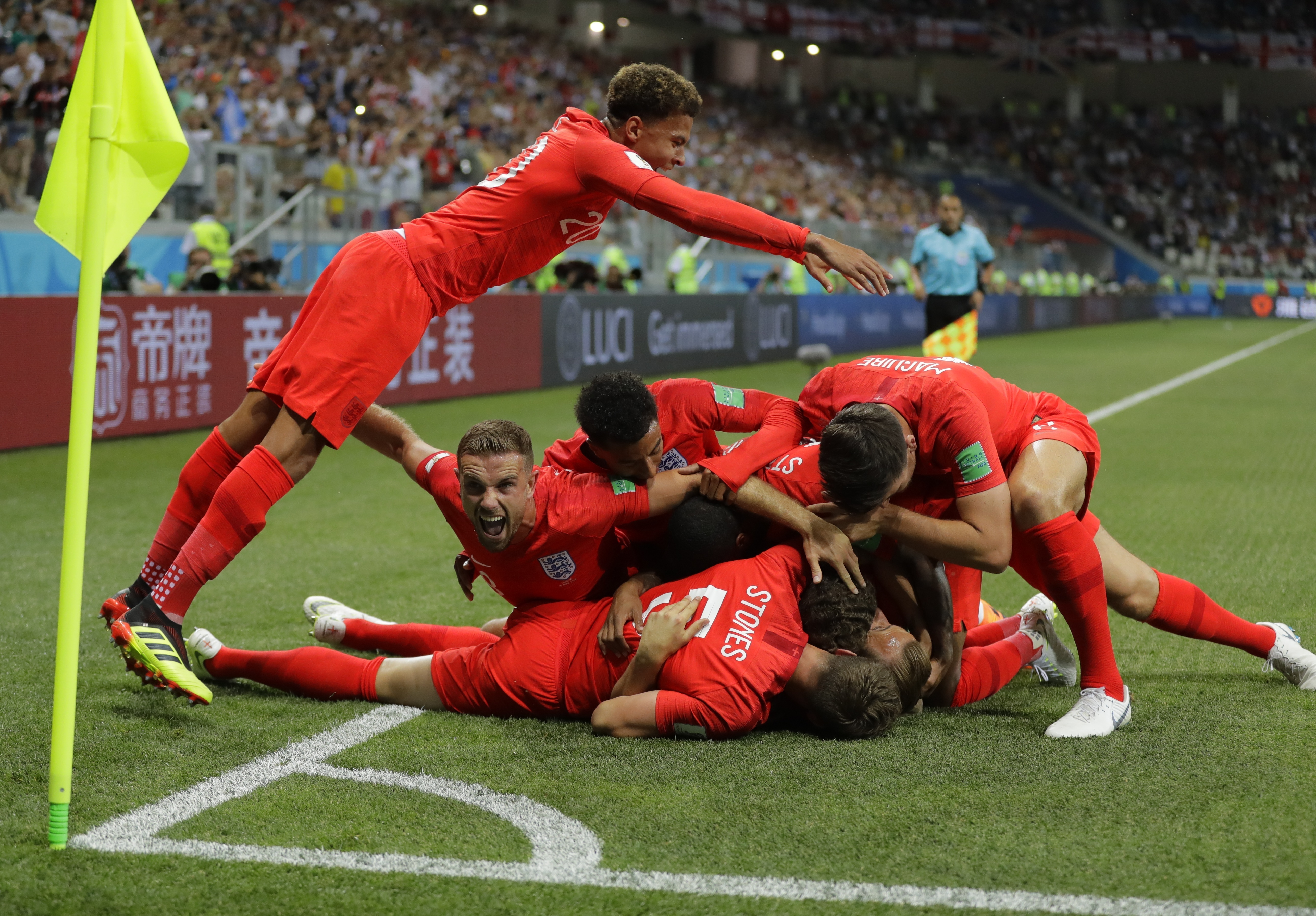 England players celebrate in wild scenes. Image: PA