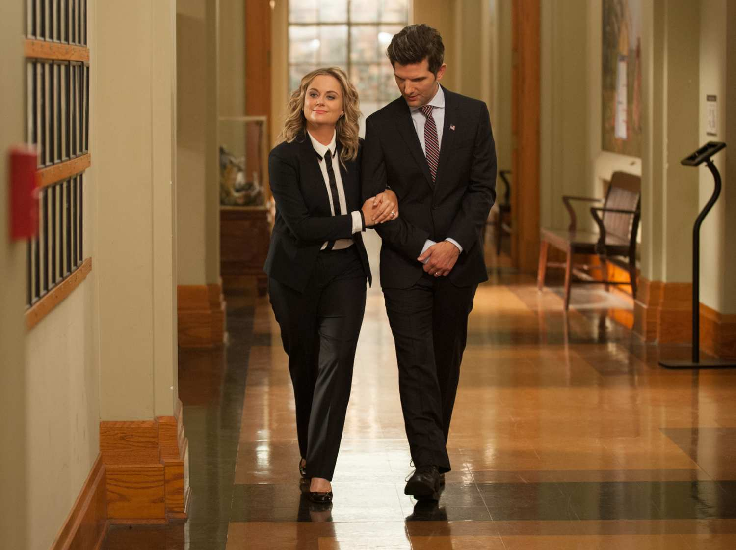 Amy Poehler as Leslie Knope and Adam Scott as Ben Wyatt in Parks and Recreation. Credit: NBC