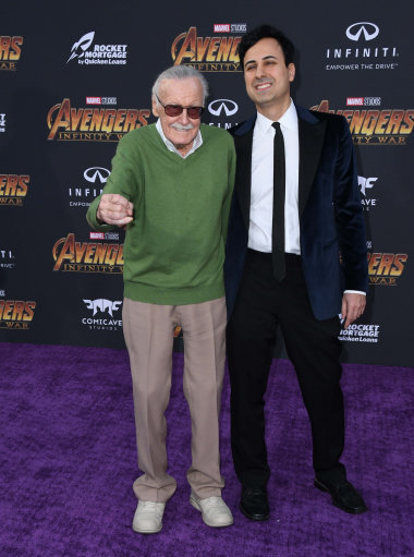 The late Stan Lee With Keya Morgan at the World Premiere of Avengers: Infinity War in April 2018. Credit: PA
