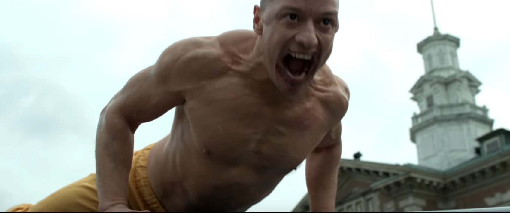 James McAvoy has certainly pounded on the muscle for this role. Credit: Universal Pictures