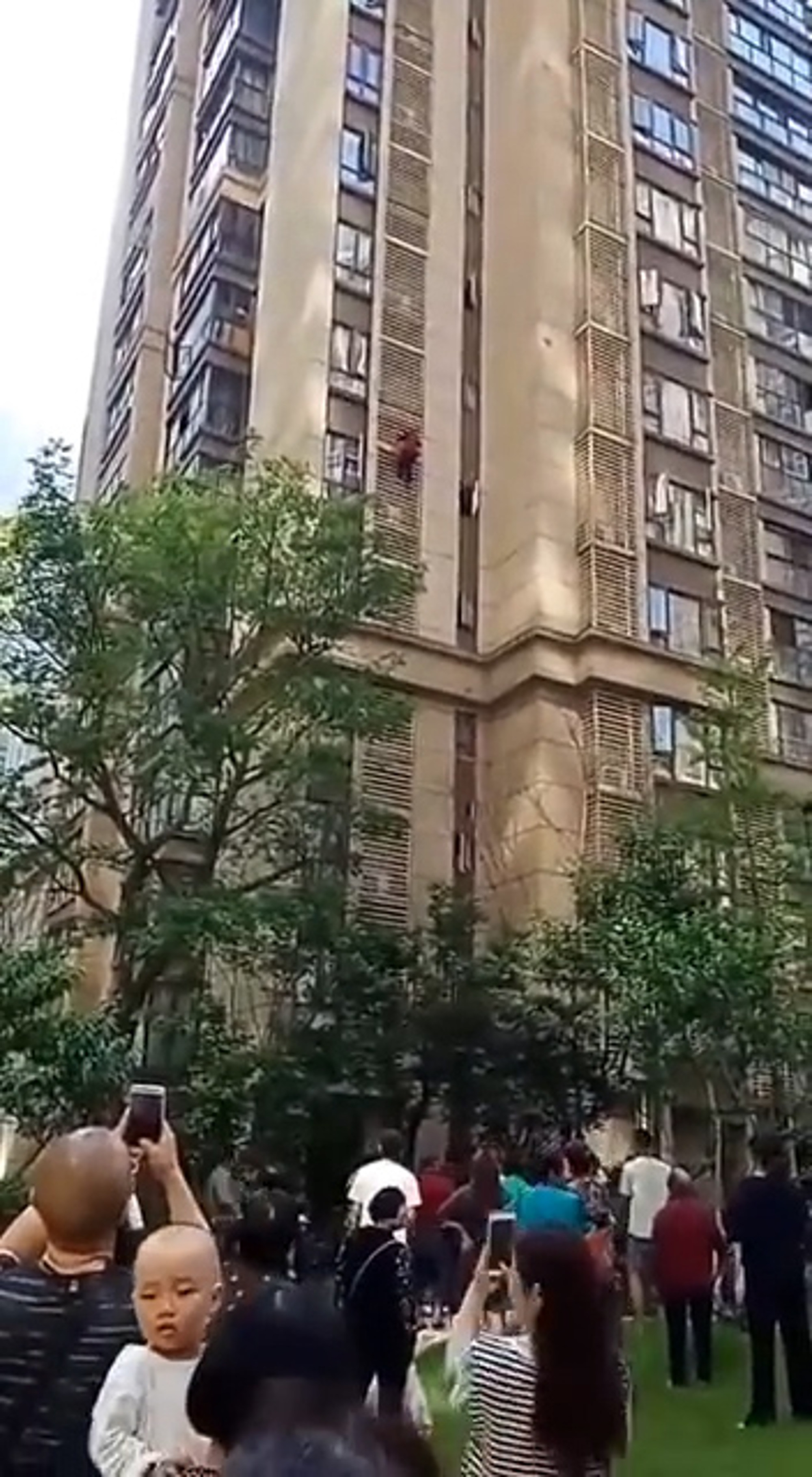 The 90-year-old woman climbing down the side of the high-rise tower block. Credit: AsiaWire
