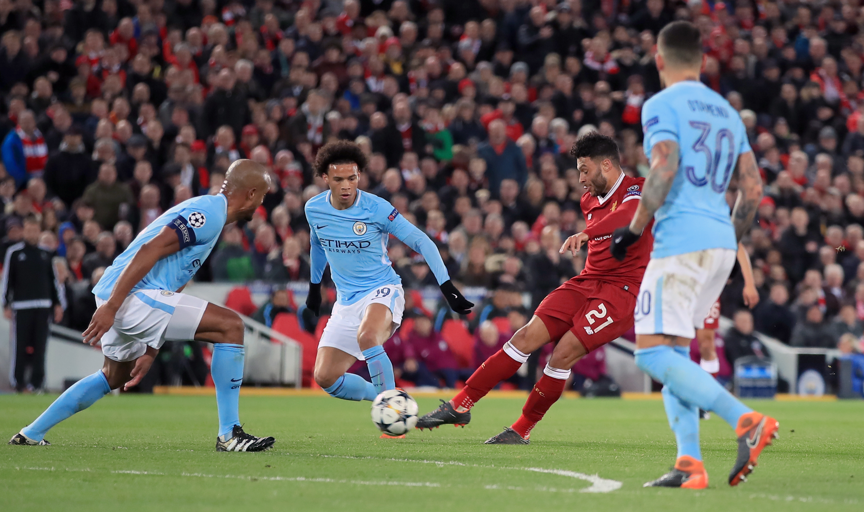 Oxlade-Chamberlain shoots, and scores. Image: PA