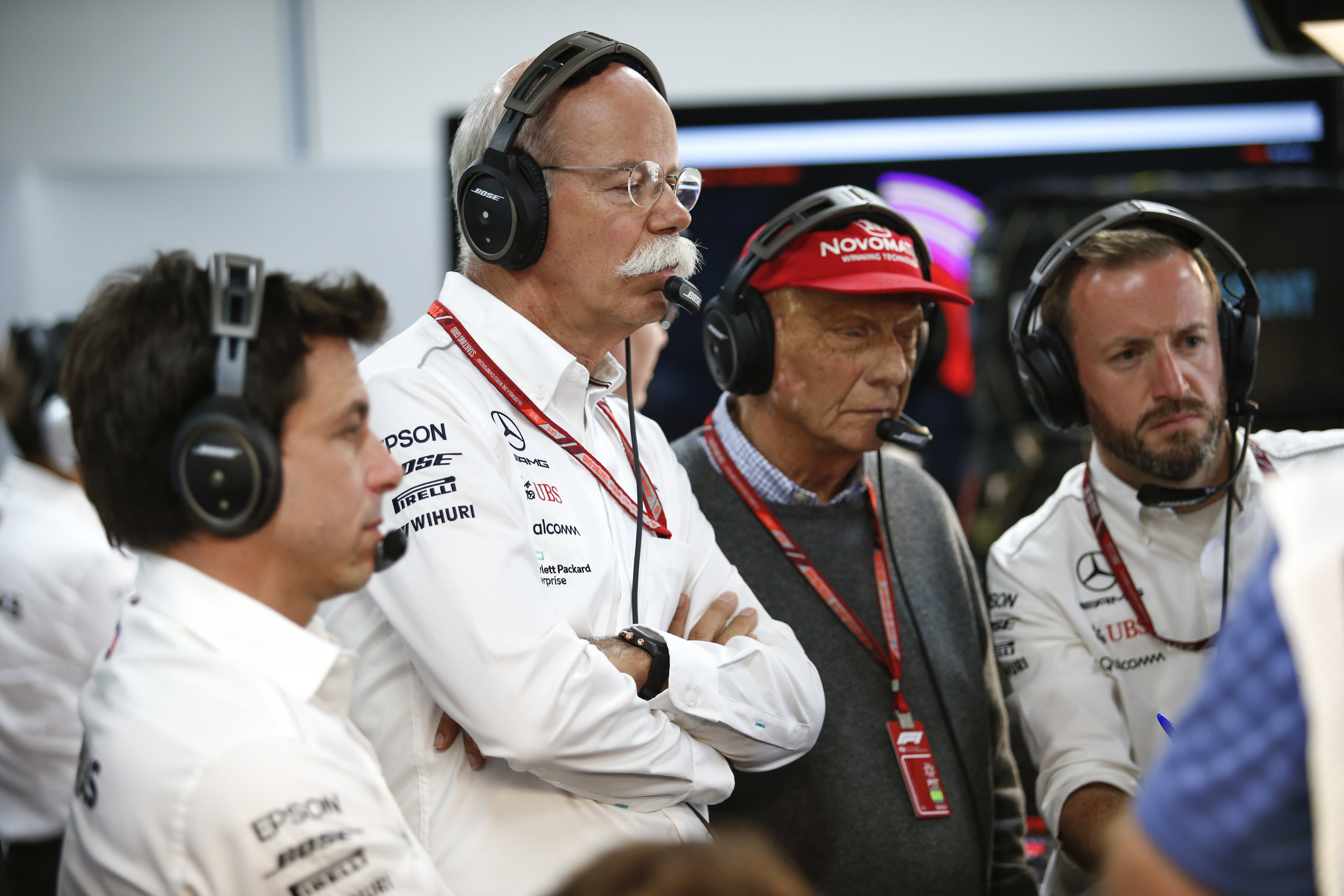 Lauda with the Mercedes team. Image: PA Images