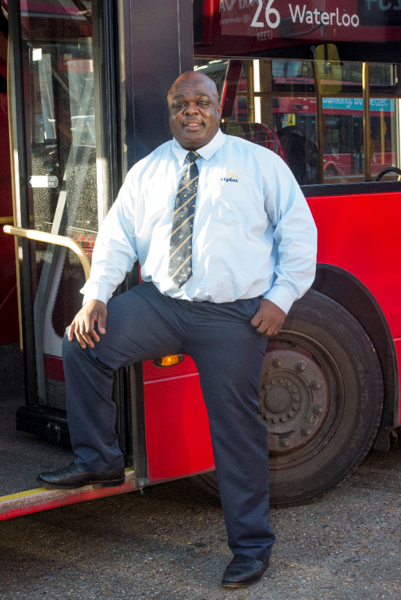 Patrick Lawson is the happiest bus driver in London. Credit: Jeremy Selwyn/Evening Standard/eyevine