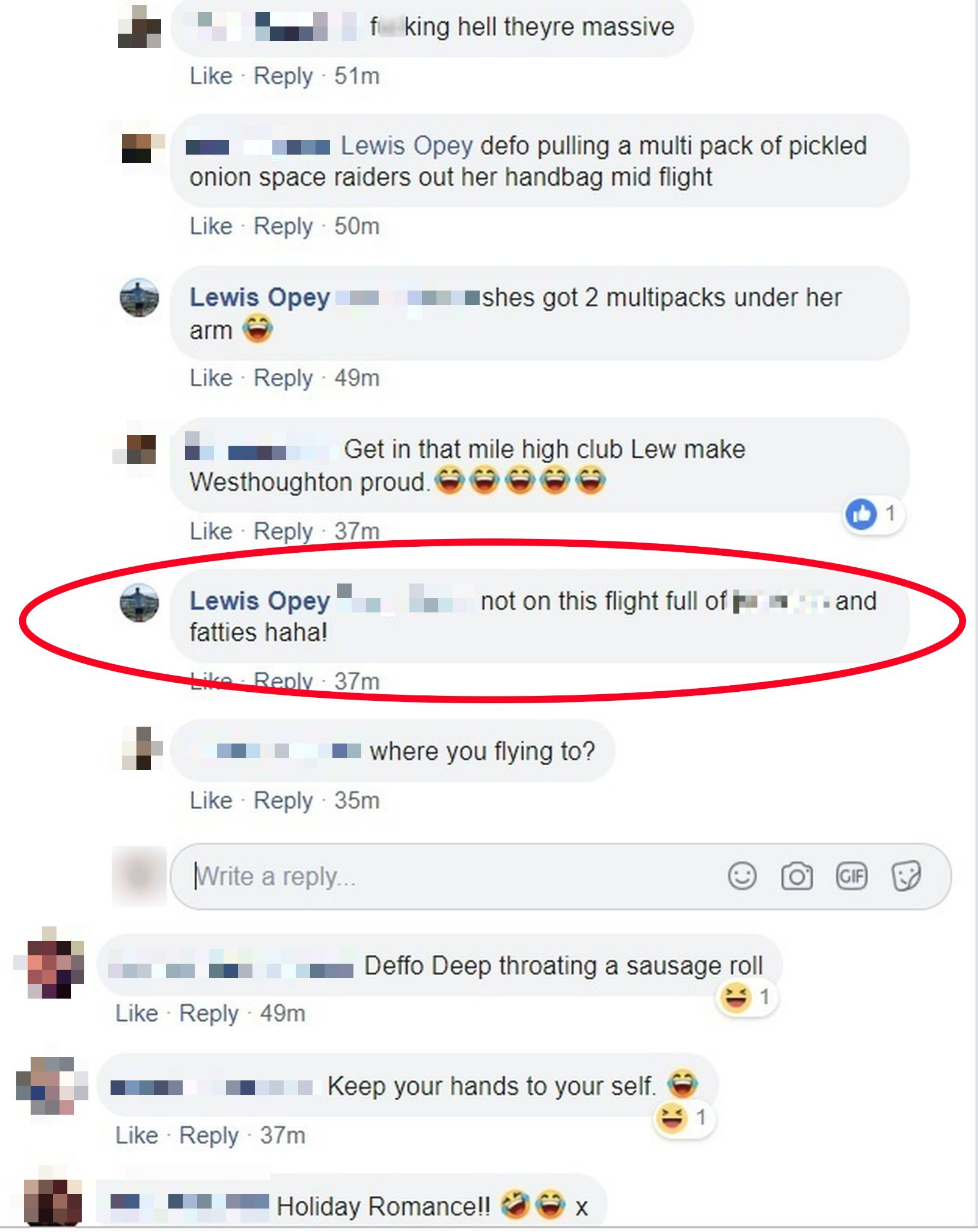 Lewis and his friends made jibes at the woman. Credit: Kennedy News and Media