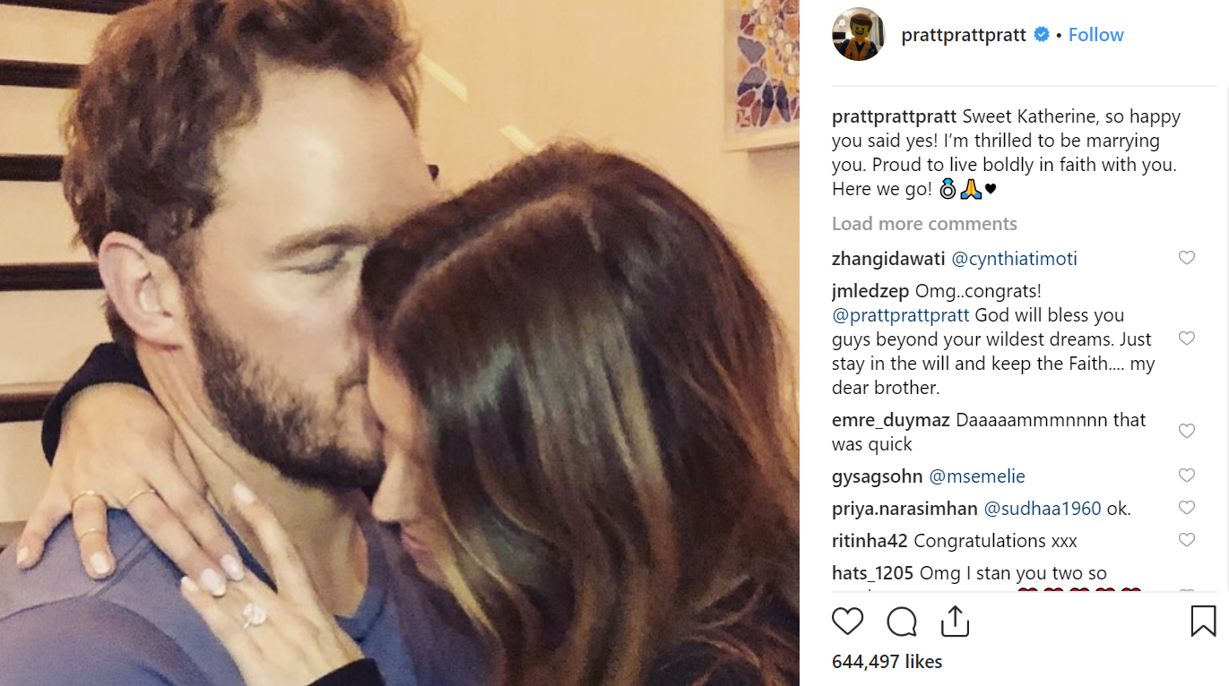 Chris Pratt has got engaged to Arnold Schwarzenegger's daughter. Credit Instagram  prattprattpratt