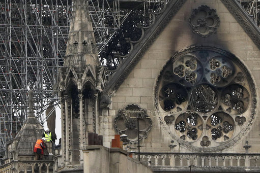 Experts inspect the damaged Notre Dame cathedral after the fire in Paris. Credit: PA