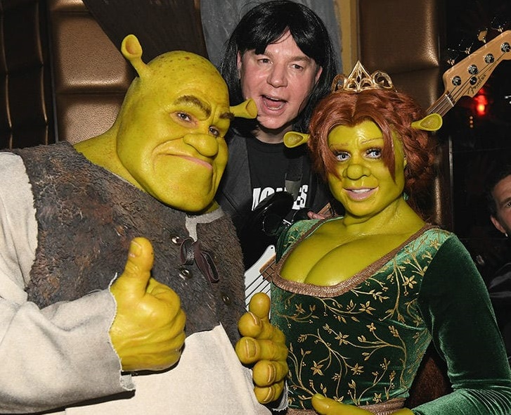 Klum and Kaulitz with Shrek voice actor Mike Myers. Credit: Getty