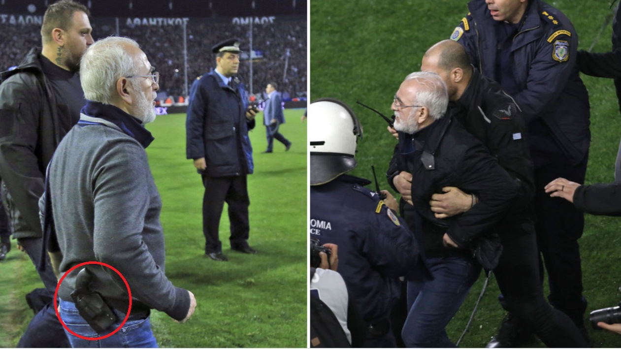 Paok Salonika Owner Storms The Pitch With A Handgun After Disallowed Goal