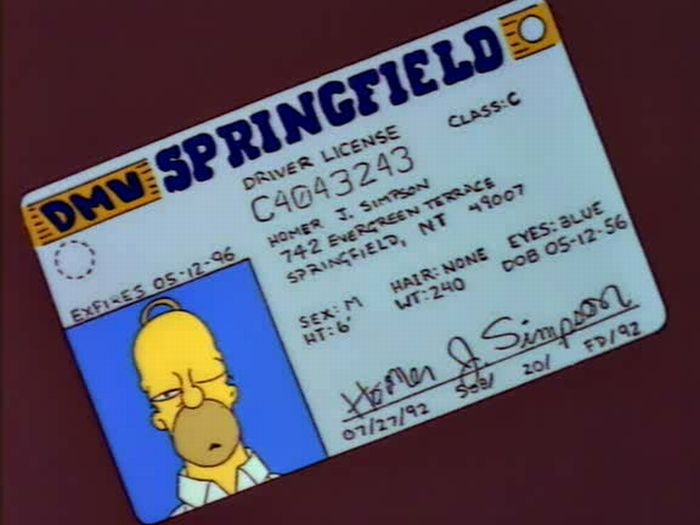 Driver shows Simpson's license and Twitter can not get over the 'D'oh!' moment