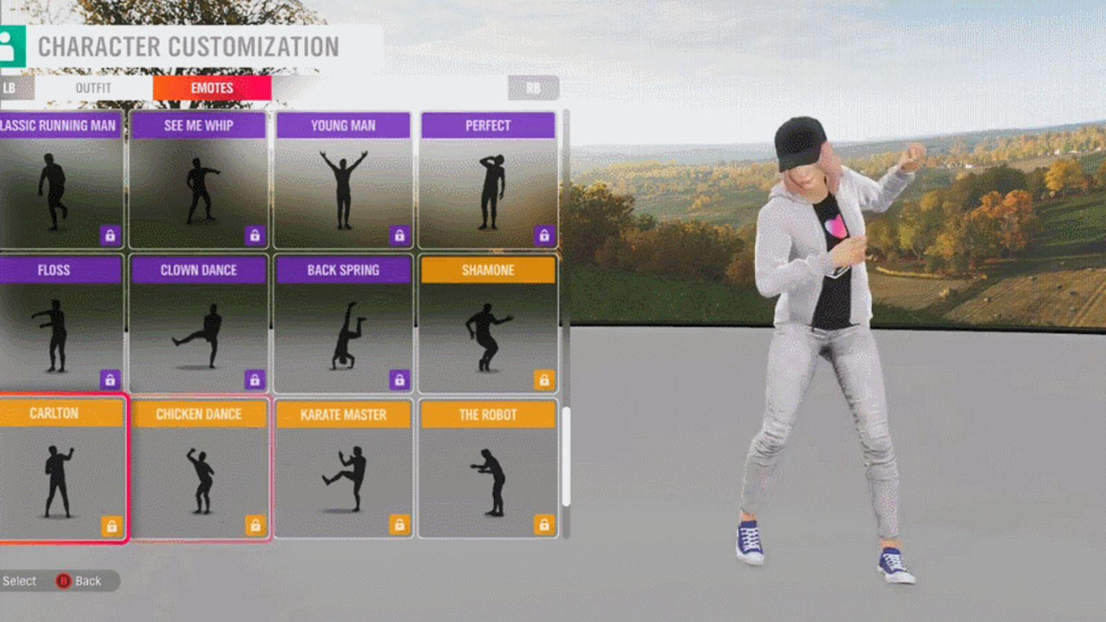 The 'Carlton' emote in 'Forza Horizon 4'. Credit: Playground Games/Microsoft