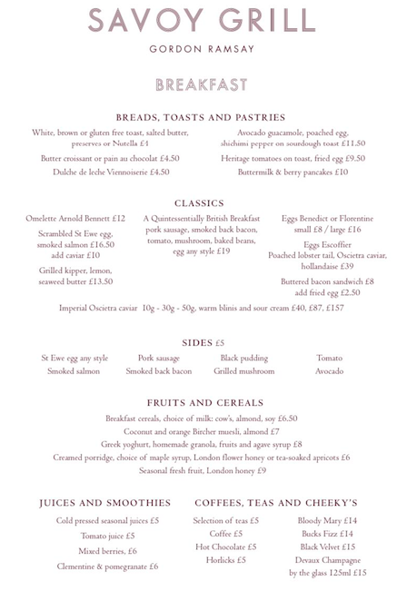 The Savoy menu revealed the breakfast didn't come cheap (Credit: Savoy)