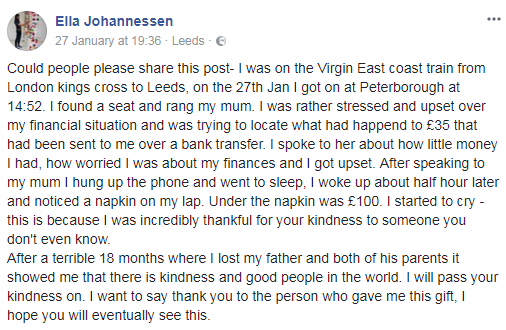Woman wakes up on train to find she's been given £100 gift