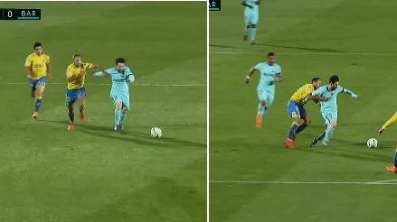 Las Palmas Defender Had To Result To A Rugby Tackle To Stop Messi