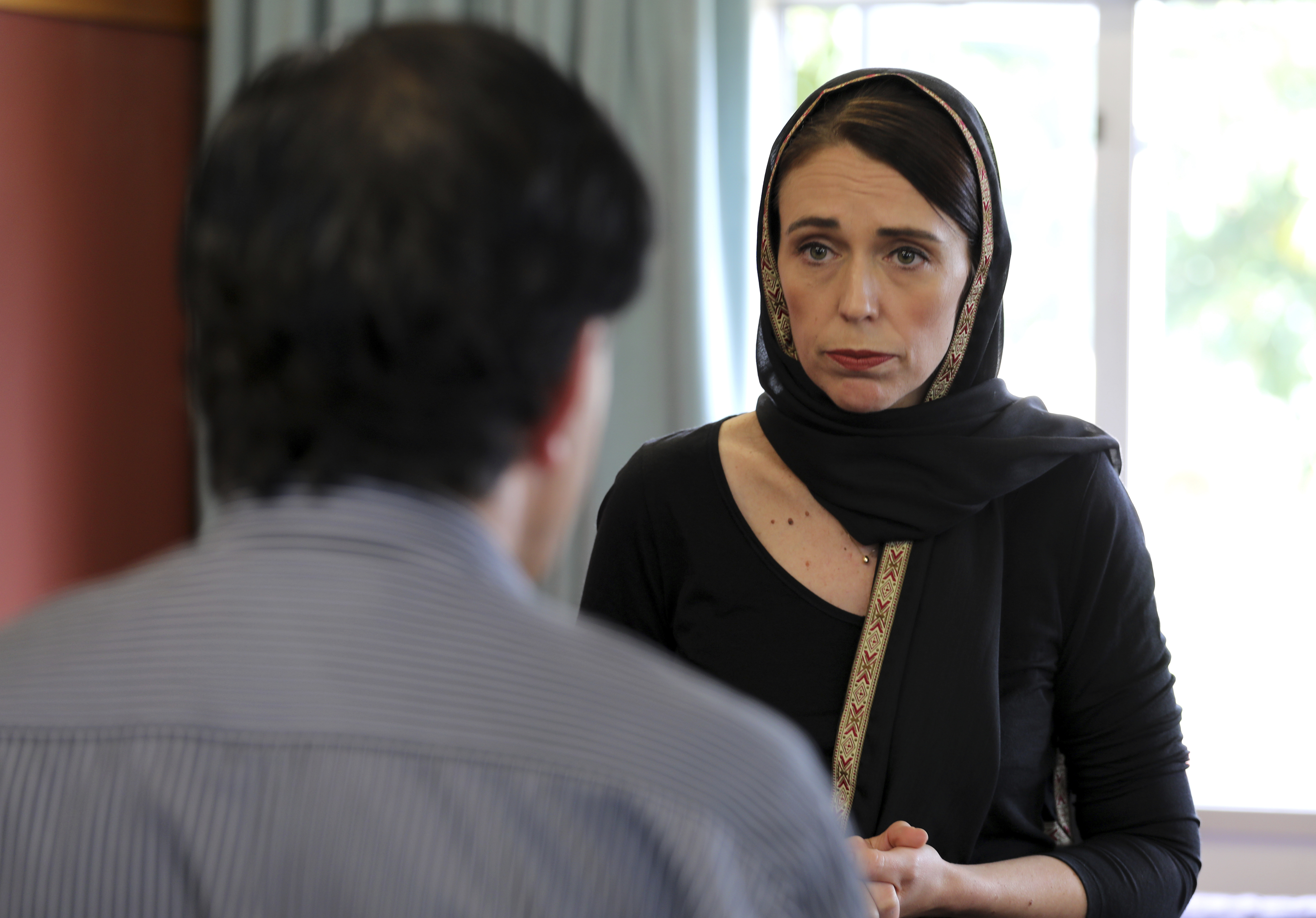 Ms Ardern spoke with victims of the sickening terror attack. Credit: PA