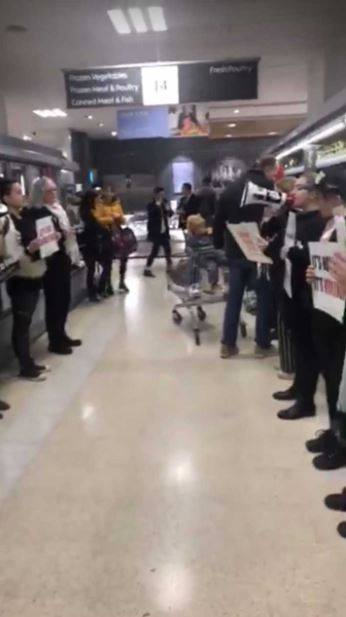 The protesters lined along the meat aisle in Waitrose. Credit: Triangle News