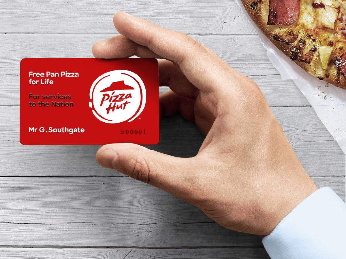 The card that gives Southgate free pizza. Image: Pizza Hut