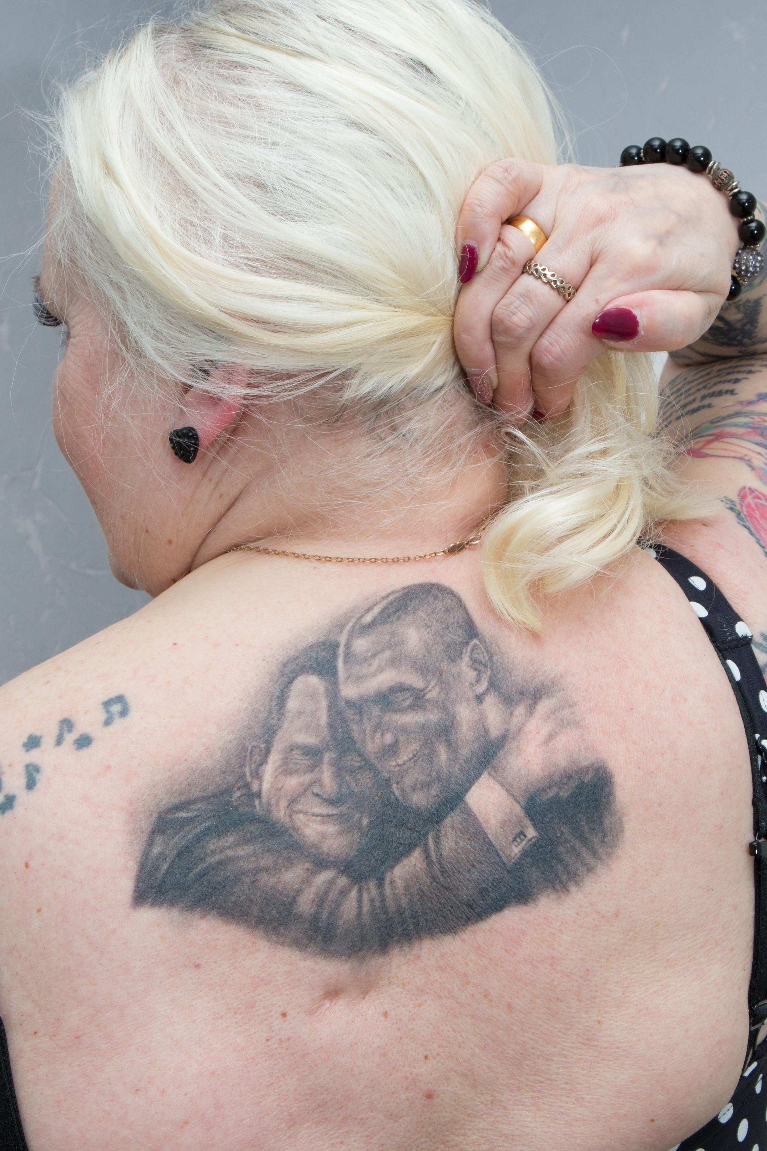 The gran has added to her collection of tats with one of Jeremy Kyle and Steve. Credit: SWNS