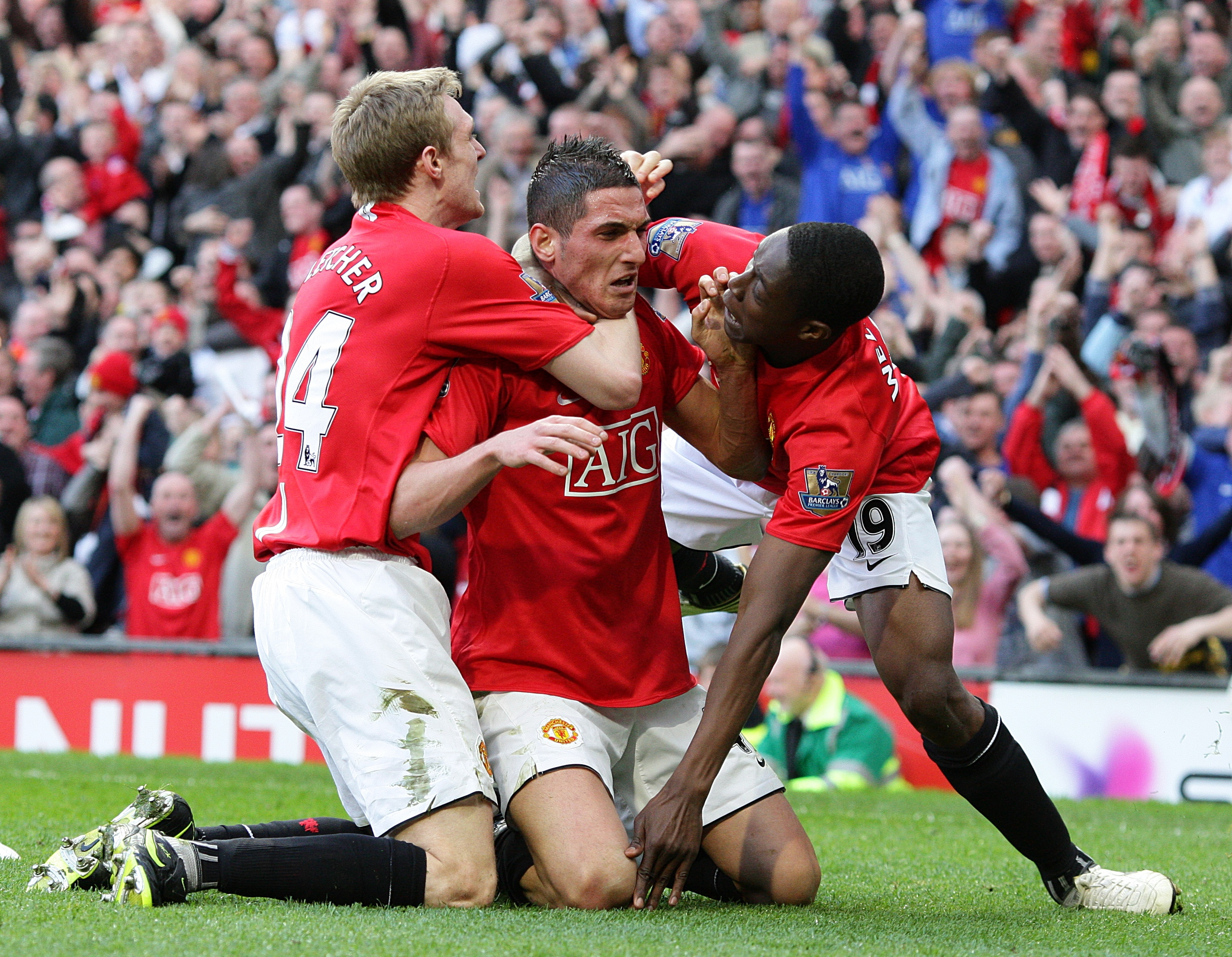 Macheda celebrates his goal. Image: PA