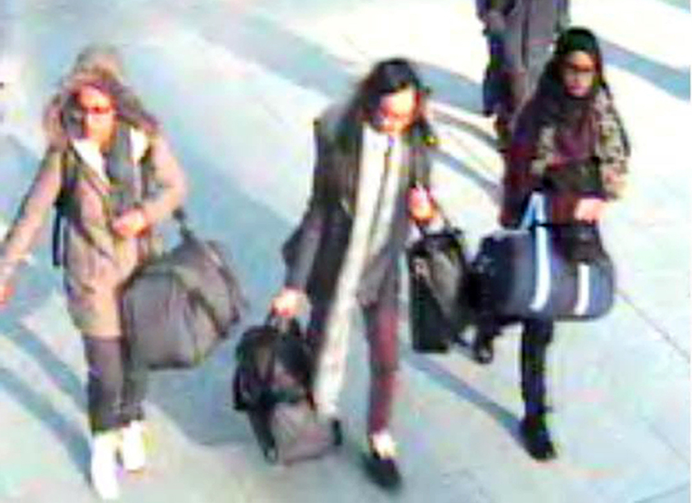 Shamima Begum captured on CCTV in 2015 on her way to the Middle East. Credit PA