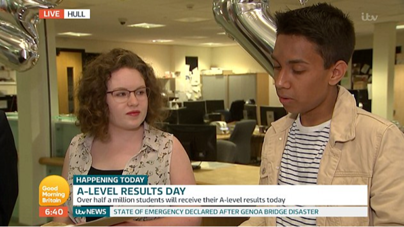 Student Finds Out He Hasn't Got Grades He Needs Live On TV